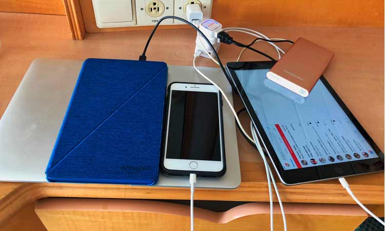 Charging phone in Cruise Cabin